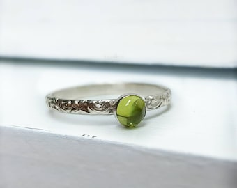 Peridot Ring August Birthstone Peridot Ring Silver Green Peridot Ring With Peridot Peridot Engagement Gift For Wife Peridot Promise Ring