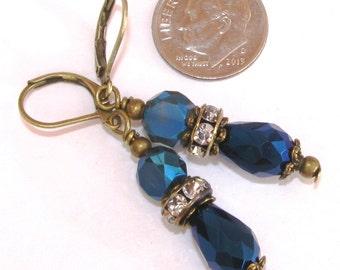 TEARDROP Metallic Midnight Blue Crystal Roundel Rondel Bronze Tone LEVERBACK Earrings