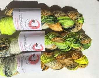 HARRY POTTER THEMED yarn - available in both sock weight & dk merino yarn, hufflepuff themed hand dyed colours.