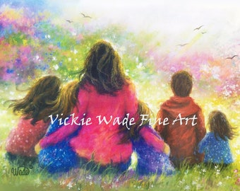 Mother Four Daughters and Son Art Print, four sisters and brother, mother's day gift, four girls and boy, five children art, Vickie Wade Art