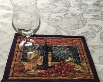 Quilted Mug Rug Wine Themed, Snack Mat Quilt, Mini Quilted Placemat Purple Tan Green, Mug Rug Wine Decor