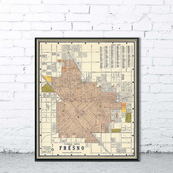 Fresno map Old city map of Fresno Large wall map