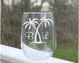 personalized wine glasses, palm tree stemless wine glasses, wine glasses, Etched Stemless Wine Glasses, beach wine glasses, Palm trees, Wine