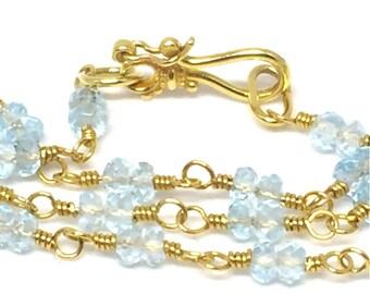 Aquamarine Wrap Necklace 22k Aquamarine Necklace Aquamarine Bead Wrap March Birthstone Beaded Necklace Aquamarine Jewelry Statement Necklace