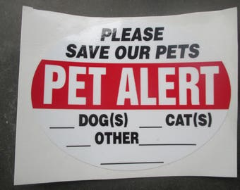 Emergency Pet Alert sticker / Save Our Pets decal