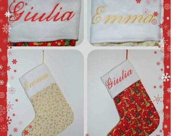 Cute Christmas stocking personalized (set of two)