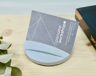 Blue concrete card-holder, business card-holder, concrete display, business cards display, photo display, card stand