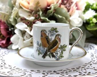 Demitasse and Saucer, Demitasse Coffee Cup, Brambling Finch, Fitz & Floyd, Vintage Demitasse Cup, Bird Lover Gift, c1970s, Vintage Tea Party