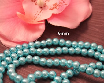 Set of 50 6 mm blue Turquoise - creating jewelry - pearls
