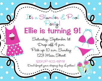 Slumber Pool Party Birthday Invitation --  flip flops pajama party, sleepover -- Slumber and Pool party