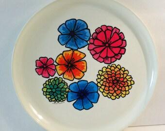 Flower Power Tray Bright Hippie Serving Tray Vintage by Deka Plastics   1969