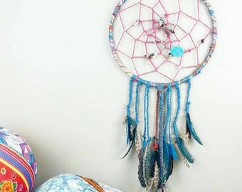Dream Catcher, LARGE DreamCatcher, Turquoise, Wall Decor, Wall Accent, Bohemian decor, Boho Decor, Home Decor, Hippie, Gypsy, Mermaid