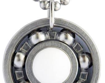 White Jade Roller Derby Skate Bearing Pendant Necklace