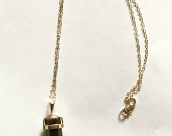 Brown Jasper Wand on Sterling Silver Chain