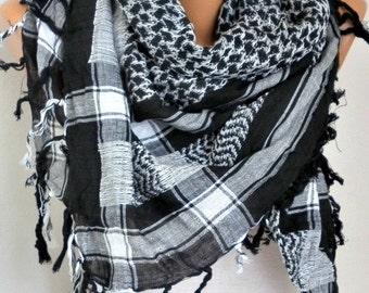 Cotton Tartan Tassel Square Scarf,Fall Winter Scarf, Shawl Plaid Oversize Cowl Bohemian Gift Ideas For Her Women Fashion Accessories