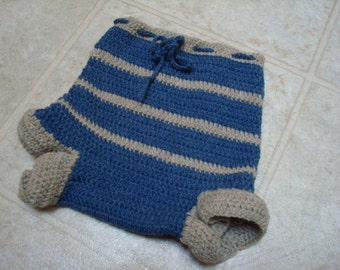 Toddler Boys All Wool Crocheted Shortie Soaker, Diaper Cover - Wrangler 819
