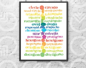 "Instant Download - Printable - 11""x14"" Art Print - Spanish and English Shapes - Nursery Decor - Bilingual Baby - Colorful - Educational"