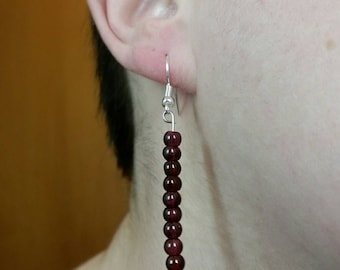 Garnet color Bead Earrings