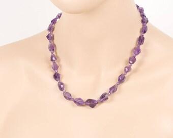 Amethyst Necklace, February Birthstone, Single Strand Necklace, Purple stone, Gemstone Jewelry, Handmade Jewelry, Gemstone necklace, chakra