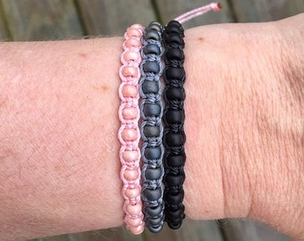 SALE Micro-Macrame Adjustable Bracelet Stack - Light Pink, Gray, Black