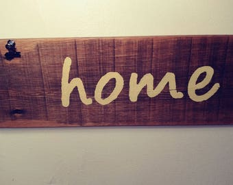 Reclaimed Wood 'Home' Sign with Photo Clips