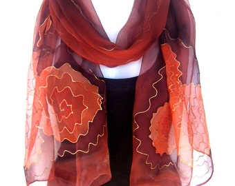 Hand Painted Silk Scarf, Chestnut Brown Copper Orange, Abstract, Silk Chiffon Scarf, Gift For Her