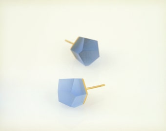 Petite Vu - cerulean blue, gold stud earrings