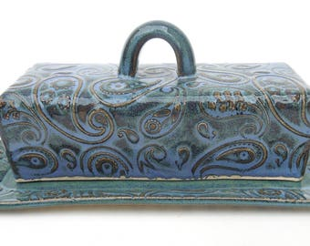 Slate Blue Green Textured Paisley Handmade Ceramic Pottery Covered Butter Dish with Lid