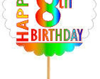Happy 8th Birthday Rainbow Cupcake Decoration Topper Picks -12pk