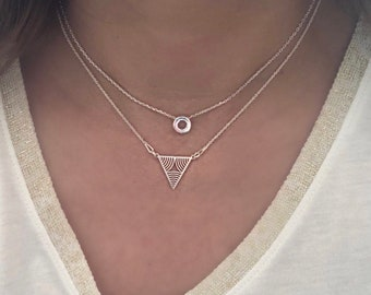 Dainty Triangle necklace. Sterling Silver Triangle necklace. Geometric necklace. Layering necklace. Minimalist jewelry
