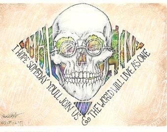 Imagine John Lennon Skull tie Dye Print
