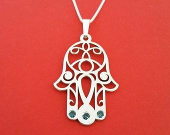 Khamsa Necklace Silver Hamsa Necklace Birtstone Hamsa Necklace Chamsa Necklace Lucky Charm Necklace Lauren Conrad Necklace