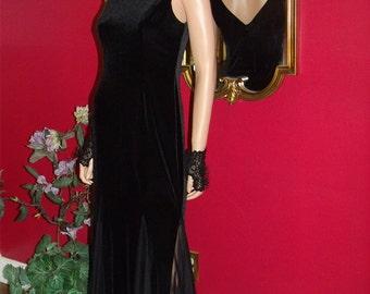 Evening Dress Black Velvet Flapper Dress 1920style  Size 6P
