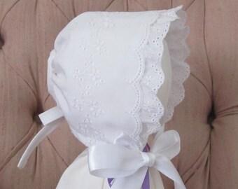 Small Baby Easter Bonnet, Baptism Bonnet, Dedication Bonnet,  Ruffled Eyelet Bonnet,Sunbonnet ,Cotton Bonnet, Baby Hat, Christening Bonnet