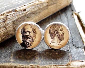 Philosophy Cufflinks - Socrates and Plato Cuff Links in Silver Tone or Stainless Steel