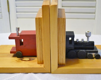Wooden Bookends Train Theme Handmade Red Black Rustic Decor Panchos Porch