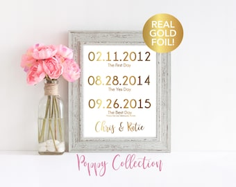 Wedding Sign Print, Personalized Wedding Gift, Important Dates, The Best Day, The Yes Day, Real Gold Foil, Wedding Print, Custom sign