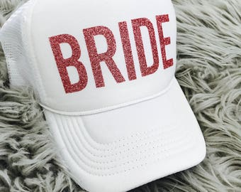 BRIDE- pink glitter Trucker Hat  // Bachelorette Party, Bridal Shower, Bride to be, bride tribe, Pink glitter
