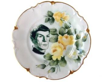 Vintage - Captain Spock - Star Trek - Illustrated - Small Plate - Upcycled - Sci Fi - Nerd - Geek - Art