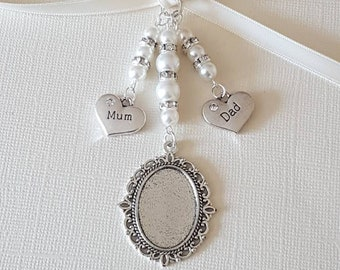 "Wedding Bouquet Photo Charm Oval Silver Locket with a ""Mum"" charm and ""dad"" charm with white pearls and an organza gift bag"
