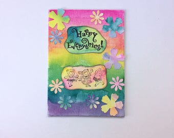 Happy Everything!  Watercolor - Mixed Media Canvas