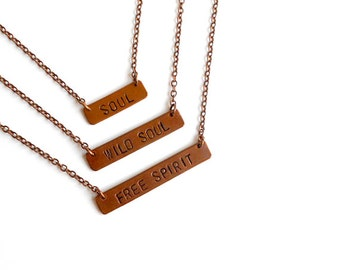 SALE - Stamped Copper Necklace
