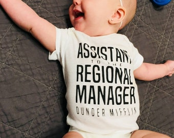 Assistant to the Regional Manager Onesie, Regional Manager Onesie, The Office TV show, Michael Scott, Dwight Schrute, baby matching onesie