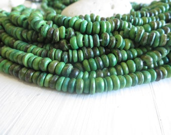 Small coconut green rondelle beads , discs spacer  , exotic beads - 6mm  in diameter  / 12 inches strand -6a15-1
