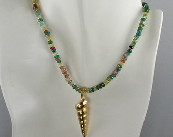 Multi Color Gemstone Necklace with Removable Gold Plated Shell Charm