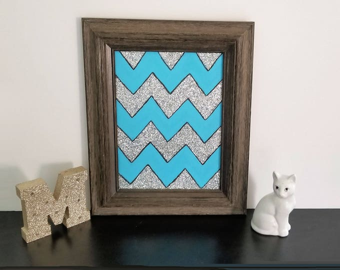 Framed Glitter Chevron Original Painting