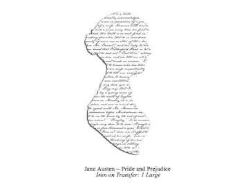 Jane Austen Pride and Prejudice Silhouette Iron on Transfer: Black on White, Large