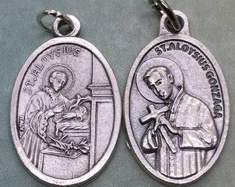 St. Aloysius Gonzaga holy medal, silver oxide - Catholic saint - patron of AIDS patients, bodily purity, Catholic youth, teenagers