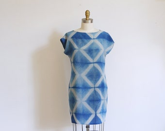 Silk mini Dress natural dye Indigo.  Shibori pattern silk dress DIAMOND Made to order