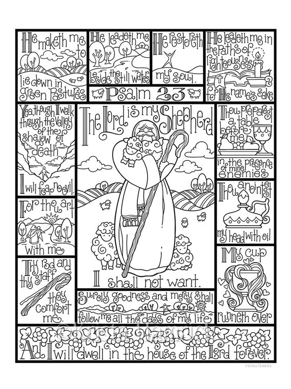 psalm 23 coloring page in three sizes 85x11 8x10 suitable for framing 6x8 for bible journaling tip in - Psalm 98 Coloring Page